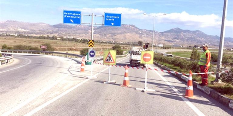 На перекрестке в Эрджан начались ремонтные работы