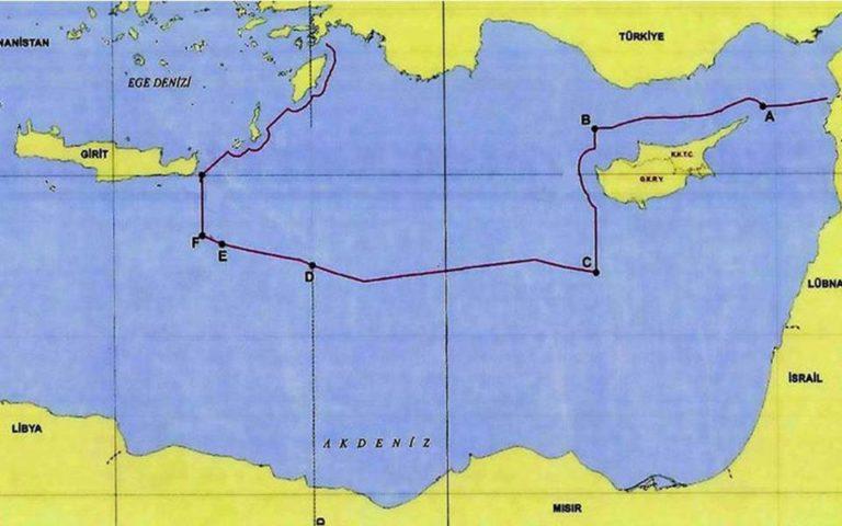 Карта с границами Анкары на континентальном шельфе в Восточном Средиземноморье